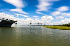 USS Yorktown and Cooper River Bridge, Charleston, SC royalty free stock images