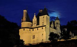 Usse Castle. Exterior of Usse Castle, Chateau D'Usse, illuminated at night, Loire, Valley, France Stock Photos