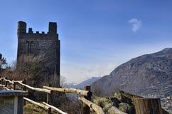 Ussel bråkdel av Chatillon, Valle D ` Aosta, Italien 11 Februari 2018 Arkivfoto