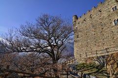 Ussel bråkdel av Chatillon, Valle D ` Aosta, Italien 11 Februari 2018 Royaltyfria Bilder