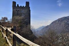Ussel bråkdel av Chatillon, Valle D ` Aosta, Italien 11 Februari 2018 Arkivfoton
