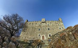 Ussel bråkdel av Chatillon, Valle D ` Aosta, Italien 11 Februari 2018 royaltyfri fotografi