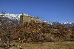 Ussel-Bruch von Chatillon, ` Aosta, Italien Valle d am 11. Februar 2018 Stockfotografie