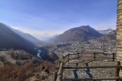 Ussel-Bruch von Chatillon, ` Aosta, Italien Valle d am 11. Februar 2018 Lizenzfreie Stockfotografie