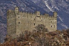 Ussel-Bruch von Chatillon, ` Aosta, Italien Valle d am 11. Februar 2018 Lizenzfreie Stockbilder