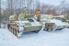 Ussian behållare av världskrig II t-70 och su-76 Royaltyfri Fotografi