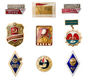 USSR badges. And orders. Isolated on white Royalty Free Stock Photo