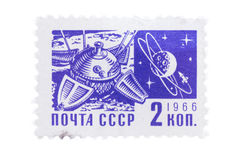 USSR - CIRCA 1966: En stämpel skrivev ut in från samhället och Arkivbilder