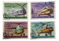 USSR-CIRCA 1980: A post stamp printed in USSR show helicopters M Stock Photo