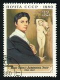 USSR - CIRCA 1980: A post stamp printed in the USSR shows artist Jean Auguste Dominique Ingres, circa 1980. Stock Images