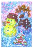 RUSSIA - CIRCA 1986: stamp printed by Russia, shows christmas, circa 1992. USSR - CIRCA 1986: a postcard Happy New Year was released in the Soviet Union in 1986 royalty free illustration