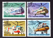 USSR - CIRCA 1980: a series of stamps printed in USSR, shows helicopters, CIRCA 1980 Royalty Free Stock Photography