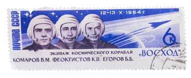 USSR- Circa 1964:  stamp dedicated to cosmonauts Komarov, Ye Stock Images