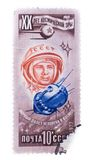 USSR - CIRCA 1977: A stamp printed in the  showing first fli. USSR - CIRCA 1977: A stamp printed in the USSR showing first flight of man into the space circa Stock Photography