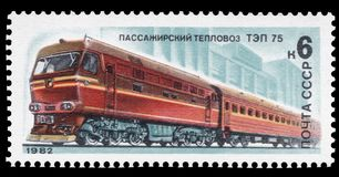 USSR - CIRCA 1982: A stamp printed in USSR, shows a Diesel locomotive TEP 75, Issued on 1982-05-20, series of images. `Trains and locomotives USSR` series of 5 stock photo