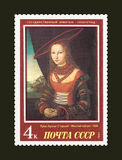 USSR - CIRCA 1987. A stamp printed in USSR, shows painting artist Lucas Cranach the Elder & x22;Portrait woman& x22;, 1526 Royalty Free Stock Images