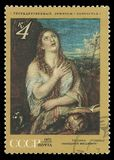 Mary Magdalene confesses her Sins by Titian. USSR - circa 1971: Stamp printed by USSR, Color edition on Foreign Paintings in Soviet Museums, Shows Mary Magdalene Royalty Free Stock Images