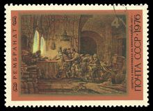 Rembrandt painting Parable of the laborers in the vineyard. USSR - circa 1976: Stamp printed by USSR, Color edition on 370th Birth Anniversary of Rembrandt royalty free stock image