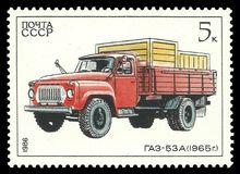 Automobile Gaz. USSR - circa 1986: Stamp printed by USSR, Color edition on topic of Soviet Autoindustry, shows automobile Gaz-53a, circa 1986 Stock Image