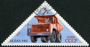 USSR - 1971: shows BelAZ 540 haul truck , series Soviet Cars. USSR - CIRCA 1971: A stamp printed in USSR shows BelAZ 540 haul truck , series Soviet Cars, circa Stock Image