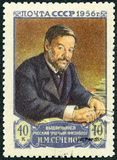 USSR - 1956: shows portrait of Ivan Mikhaylovich Sechenov 1829-1905, Russian physiologist. USSR - CIRCA 1956: A stamp printed in USSR shows portrait of Ivan stock photos