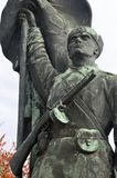 Red Army soldier 2 statue at Memento Park Budapest Hungary. USSR Communist soviet style arts and statue. Memento Park, or Szoborpark is an open-air museum in royalty free stock photo