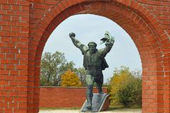 Monument to the Hungarian Socialist Republic 14 Communist Statues at Memento Park Budapest Hungary. USSR Communist soviet style arts and statue. Memento Park, or royalty free stock image