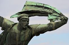 Monument to the Hungarian Socialist Republic 16 Communist Statues at Memento Park Budapest Hungary. USSR Communist soviet style arts and statue. Memento Park, or royalty free stock image