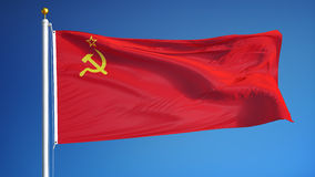USSR flag in slow motion seamlessly looped with alpha. The Union of Soviet Socialist Republics flag waving in slow motion against sky, seamlessly looped, close stock video footage