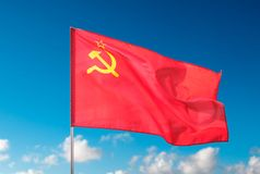 The Ussr flag, State Flag of the Union of Soviet Socialist Republics. Berlin, Germany - May 01, 2019: The Ussr flag,  State Flag of the Union of Soviet Socialist stock images