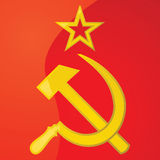 USSR hammer and sickle. Glossy illustration of a hammer and sickle, from the flag of the former USSR Royalty Free Stock Photos