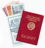 USSR PASSPORT, MONEY AND BANK BOOK Royalty Free Stock Photo