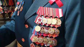 USSR and Russia veteran soldier medals of war in Afghanistan and WWII. Close up
