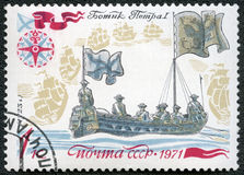 USSR - 1971: showPeter I granska flotta Royaltyfria Foton