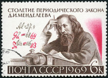USSR - 1969: shows D.I. Mendeleev (1834-1907) and Formula with Author's Corrections, Century of the Periodic Law Stock Photography