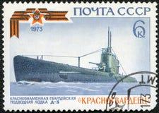 USSR - 1973: shows Submarine Krasnogvardeyets, series Soviet Warships Stock Photo