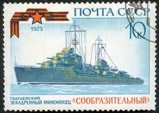 USSR - 1973: shows Torpedo boat destroyer Soobrazitelny Smart, series Soviet Warships Stock Photos