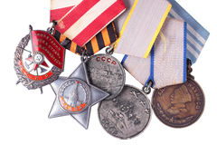 USSR Soviet military awards. Isolated Stock Photo