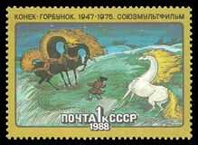 Soviet cartoons. USSR - stamp 1988: Color edition dedicated to Soviet cartoons, shows Episode from the cartoon Konek Gorbunok stock images