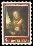Portrait of a Woman by Lucas Cranach. USSR - stamp 1987: Color edition on European Art, Shows Painting Portrait of a Woman by Lucas Cranach Stock Photo