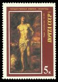 Painting Saint Sebastian by Titian. USSR - stamp 1987: Color edition on European Art, Shows Painting Saint Sebastian by Titian Royalty Free Stock Photography