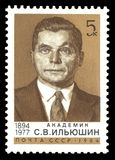 Sergey Ilyushin. USSR - stamp 1984: Color edition on Famous Scientists, Shows 90th Birth Anniversary of Sergey Ilyushin Royalty Free Stock Photo