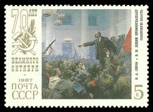 Lenin proclaim Soviet Authority. USSR - stamp 1987: Color edition on 70th Anniversary of Great October Revolution, Shows Painting Lenin proclaim Soviet Authority Royalty Free Stock Photo