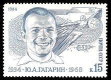 Yuri Gagarin. USSR - stamp 1984: Color edition on 50th Birth Anniv of Yuri Alekseevich Gagarin, Shows Yuri Gagarin first man in space Royalty Free Stock Image