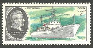 Vessel Ernst Krenkel. USSR - stamp 1979, Memorable Edition Ships, Science, Symbols, Series Scientific Research Fleet of the USSR, Vessel Ernst Krenkel Royalty Free Stock Images