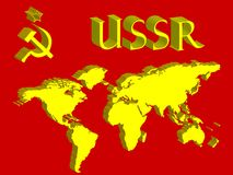 ussr symbol and world map Royalty Free Stock Photography