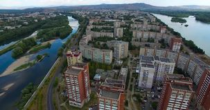 Ust-Kamenogorsk city.  East Kazakhstan. Ust-Kamenogorsk the center of East Kazakhstan region. Located on the bank of the Irtysh River stock video footage
