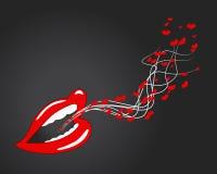 Usta, wargi -, serca, mówi o miłości Zdjęcie Stock