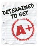 Ustalający Dostawać A Plus stopnia wynika pracy domowej przydział Obraz Stock