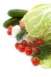Ustaleni świezi warzywa z zielonym liściem odizolowywającym Obraz Stock